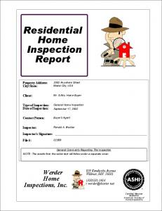 Residential Home Inspection Report