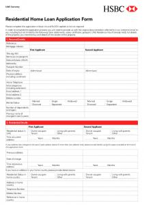 Residential Home Loan Application Form