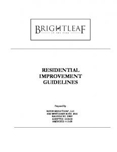 RESIDENTIAL IMPROVEMENT GUIDELINES