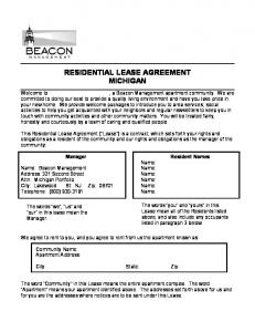 RESIDENTIAL LEASE AGREEMENT MICHIGAN