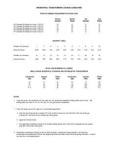 RESIDENTIAL TRANSFORMER LOADING GUIDELINES
