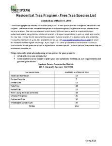 Residential Tree Program - Free Tree Species List
