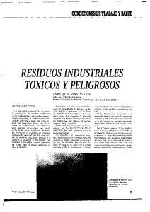 RESIDUOS INDUSTRIALES TOXICOS Y PELIGROSOS