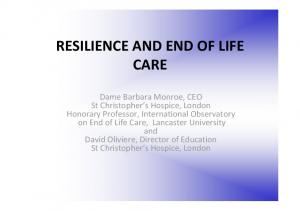 RESILIENCE AND END OF LIFE CARE
