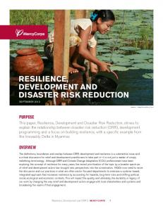 RESILIENCE, DEVELOPMENT AND DISASTER RISK REDUCTION