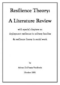 Resilience Theory: A Literature Review