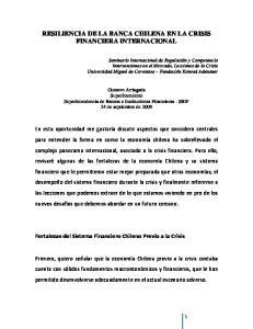 RESILIENCIA DE LA BANCA CHILENA EN LA CRISIS FINANCIERA INTERNACIONAL