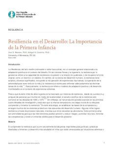 Resiliencia en el Desarrollo: La Importancia de la Primera Infancia