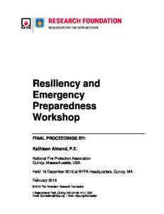 Resiliency and Emergency Preparedness Workshop