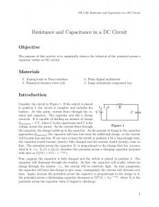 Resistance and Capacitance in a DC Circuit