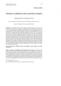 Resistance to antibiotics in the normal flora of animals