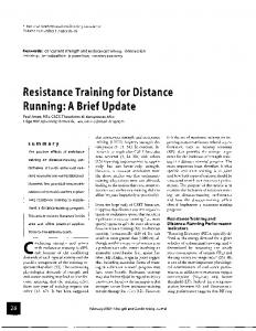 Resistance Training for Distance Running: A Brief Update