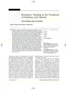 Resistance Training in the Treatment of Diabetes and Obesity