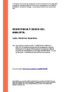 RESISTENCIA Y DESEO DEL ANALISTA
