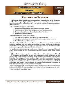 Resisting the Enemy TEACHER TO TEACHER. Lesson
