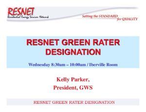 RESNET GREEN RATER DESIGNATION