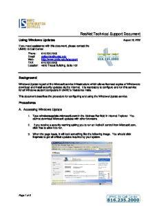 ResNet Technical Support Document