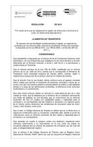RESOLUCIÓN DE Por medio de la cual se reglamenta el registro de motociclos y triciclos en el país y se dictan otras disposiciones