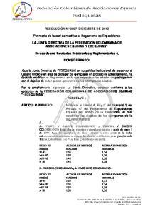 RESOLUCIÓN N 3607 DICIEMBRE DE Por medio de la cual se modifica el Reglamento de Exposiciones