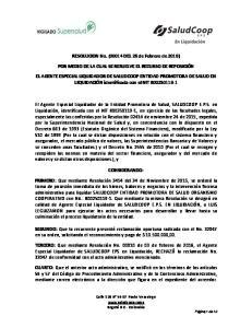 RESOLUCION No. (00014 DEL 26 de Febrero de 2016) POR MEDIO DE LA CUAL SE RESUELVE EL RECURSO DE REPOSICIÓN