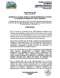RESOLUCION No. 084 (Abril 16 de 2013) POR MEDIO DE LA CUAL SE ADOPTA EL PLAN ANTICORRUPCION Y ATENCION AL CIUDADANO DEL MUNICIPIO DE TONA - SANTANDER
