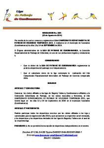 RESOLUCION No (22 de Agosto de 2014)