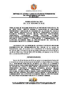 RESOLUCION No. 227 (DEL 15 DE NOVIEMBRE DE 2013)