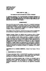 RESOLUCION No. _662. Por medio de la cual se Concede una Licencia Ambiental