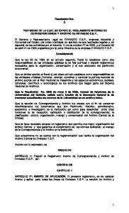 Resolución Nro. () POR MEDIO DE LA CUAL SE EXPIDE EL REGLAMENTO INTERNO DE CORRESPONDENCIA Y ARCHIVO De ENVIASEO E.S.P