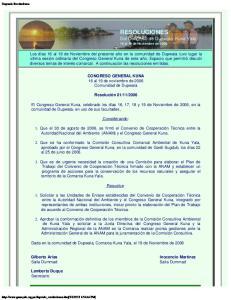 RESOLUCIONES Del Congreso de Dupwala, Kuna Yala 16 al 19 de Noviembre de 2006