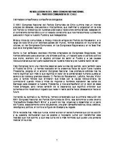 RESOLUCIONES DEL XXIII CONGRESO NACIONAL DEL PARTIDO COMUNISTA DE CHILE
