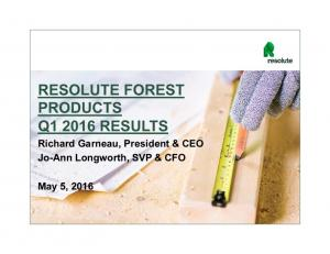 RESOLUTE FOREST PRODUCTS Q RESULTS