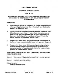 RESOLUTION NO Adopted by the Sacramento City Council. August 16, 2016