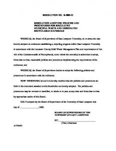 RESOLUTION NO. R RESOLUTION ADOPTING POLICIES AND PROCEDURES FOR REGULATED MUNICIPAL WASTE AND DESIGNATED RECYCLABLE MATERIALS
