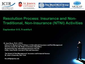 Resolution Process: Insurance and Non- Traditional, Non-Insurance (NTNI) Activities