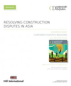 RESOLVING CONSTRUCTION DISPUTES IN ASIA