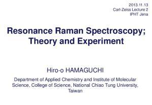 Resonance Raman Spectroscopy; Theory and Experiment