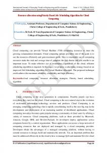 Resource allocation usingpriority Based Job Scheduling Algorithm for Cloud Computing