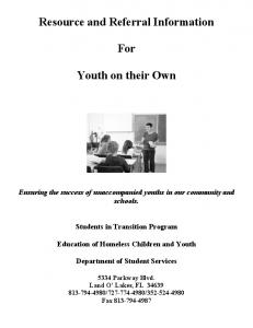 Resource and Referral Information. For. Youth on their Own