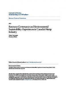 Resource Governance and Environmental Sustainability: Experiences in Canada's Hemp Industry