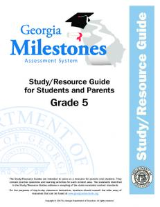 Resource Guide for Students and Parents. Grade 5