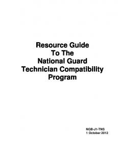 Resource Guide To The National Guard Technician Compatibility Program