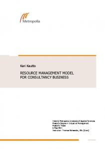 RESOURCE MANAGEMENT MODEL FOR CONSULTANCY BUSINESS