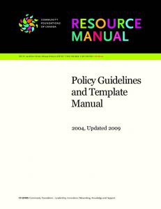 RESOURCE MANUAL. Policy Guidelines and Template Manual , Updated 2009