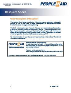 Resource Sheet. Career Development & Management