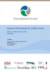 Resource Technologies for a Better World