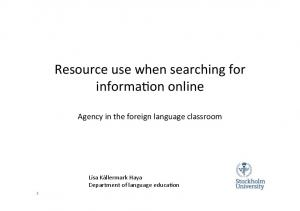 Resource use when searching for informa1on online