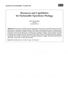 Resources and Capabilities for Sustainable Operations Strategy