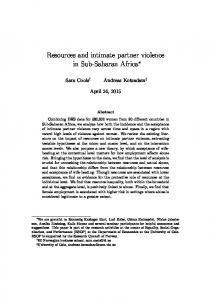 Resources and intimate partner violence in Sub-Saharan Africa
