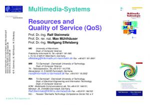 Resources and Quality of Service (QoS)